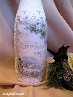 НОВОГОДНИЙ ДЕКОР ШАМПАНСКОГО - 2012 - shokolady1 - Picasa Web Albums Bottle Painting, Bottle Art, Decoupage, Altered Bottles, Album, Christmas Art, Crafty, Glass, Diy