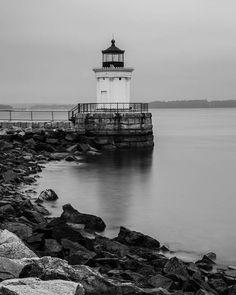 Bug Light, Portland Maine, Fine Art Black and White Photography, Lighthouse Art, Lighthouse Decor, Maine Art #lighthouse #buglight #maine