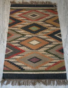 Hand woven Turkish Anatolian Multi Color Boho Kilim Wool Jute Rug Size-30x48Inch #Turkish