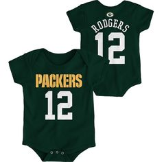 Aaron Rodgers Green Bay Packers Newborn Mainliner Name and Number Bodysuit  – Green a682d3d23