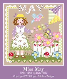 Calendar Girls, 2019 Calendar, January Calendar, Blank Calendar, Cross Stitch Charts, Cross Stitch Designs, Cross Stitch Patterns, Loom Patterns, Chart Design