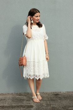 Joe Fresh Cream Baby Doll Lace Panel Boho Dress