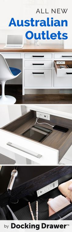 Say goodbye to cord clutter by installing Docking Drawer outlets into new or existing cabinet drawers!