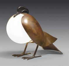 when the pidgeon swallowed the sun. Francoiz - Xavier Lalanne 'PIGEON' Table Lamp - bronze, copper, glass