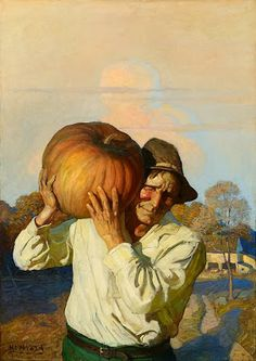 N.C. Wyeth - Farmer With Pumpkin,1910 Popular Magazine, cover illustration 1913 Oil on canvas, 47 x 33 1/4 in. (119.3 x 84.4 cm) Private collection