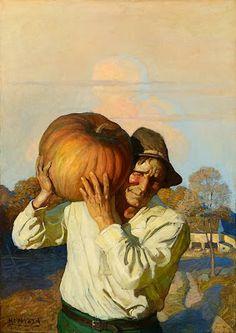 N.C. Wyeth - Farmer With Pumpkin,1910