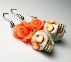 Sugar Skull Earrings Day of the Dead Orange Flower by Exgalabur, $6.00