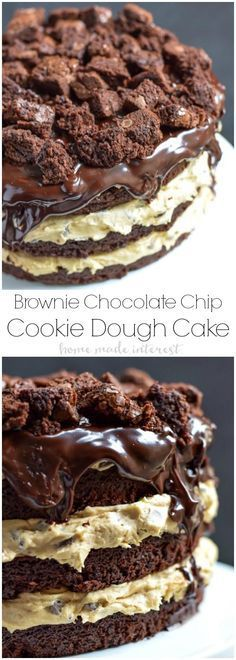 This decadent brownie chocolate chip cookie dough cake is made from brownie cake layers filled with no-bake chocolate chip cookie dough and topped with a rich dark chocolate ganache glaze. This is a c (Homemade Baking Desserts) Easy Cake Recipes, Baking Recipes, Sweet Recipes, Dessert Recipes, Dessert Ideas, Baking Desserts, Cake Baking, Cake Ideas, Homemade Desserts