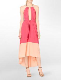 chrome necklace halter fishtail dress - Dresses- Calvin Klein