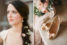 Beautiful hairstyle ideas for a henna party: this vintage bride had a fishtail braid with flowers, plus gold glitter shoes / Marcie Meredith Photography