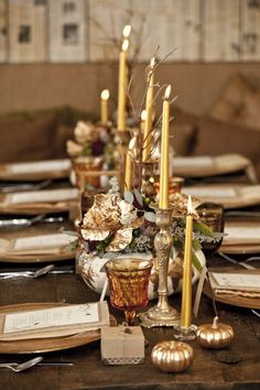 Rustic and Elegant: gold glowing candles in pewter holders, white pumpkin centerpieces, burlap napkins, wood chargers