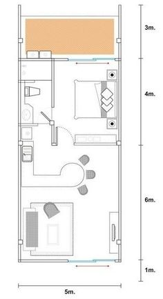 Planos de casas modernas de 1 dormitorio Mini House Plans, Small House Plans, House Floor Plans, Apartment Layout, Apartment Plans, Apartment Design, Tyni House, Narrow House, Room Planning