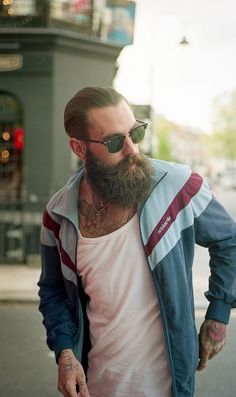 Hip. Adidas. Street. Simple. Sport. Beard. Urban. Fashion. Men. White & Blue.
