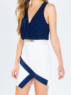 Pleated V-Neck Irregular Bottom Contrast Color Bodycon Dress Sexy Plus Size Dresses on fashionsure.com