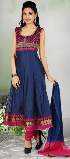 420102: Blue color family stitched Anarkali Suits. $77