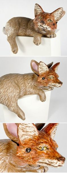 "debra broz : ""Rabbit as Fox"" and ""Lamb as Bear"" from her series ""Disguises"" (article on The Jealous Curator) Ceramic Clay, Ceramic Pottery, Ceramics Projects, Art Projects, Ceramic Figures, Till Death, Collage Art, Sculpture Art, Contemporary Art"