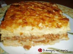 An amazing pastitsio recipe (a layered pasta and mince dish) that has been passed down from generation to generation. This is my grandmother's recipe, which was then my mother's, then became mine, and now it's yours! Greek Recipes, My Recipes, Snack Recipes, Dessert Recipes, Cooking Recipes, Dinner Recipes, Recipe For Pastitsio, Mince Dishes, The Kitchen Food Network
