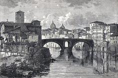Antique print Pons Fabricius Tiber Rome Italy 1871 stampa antica Quattro Capi