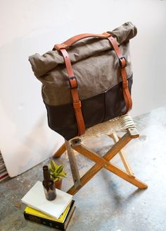 The HotShot Weekender Bag Backpack in Brown Leather and by AwlSnap