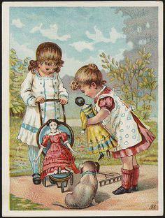 Two girls and a dog, one holding a doll, looking at another doll in a stroller. [front] trade card