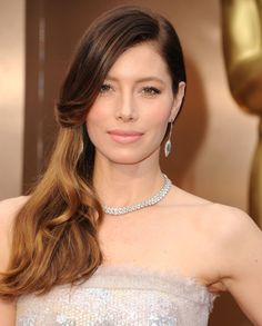 Jessica Biel's Pretty Pale Lip + Soft Waves: http://www.stylemepretty.com/2015/11/04/celebrity-hair-makeup-looks-to-steal-for-your-wedding/