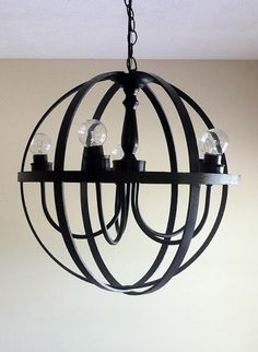 Orb Chandelier DIY - surprisingly easy and affordable (those are embroidery hoops!)