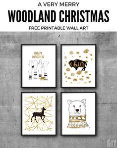 Free Printable Wall Art. Woodland Christmas