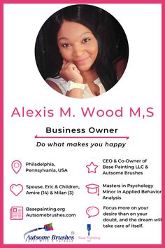 Meet Alexis Wood, CEO and Co-Owner of Base Painting LLC and Autsome Brushes, which supports Autism Awareness. From teen Mom to successful Business Owner, Alexis has turned tragedy into triumph. Mom Advice, Parenting Advice, Mom Hacks, Baby Hacks, Successful Business, Business Tips, Going Back To College, Dear Parents
