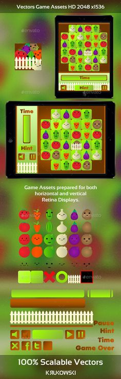 Buy Vegetables Match 3 Game Kit by Krukowski on GraphicRiver. Vegetables Match 3 Game Kit High quality vecors great for your mobile or desktop game. This set will help you create . Kit Games, Ios, Vector Game, Match 3 Games, Pixel Art Games, Android, Animation, Game Assets, Sprites