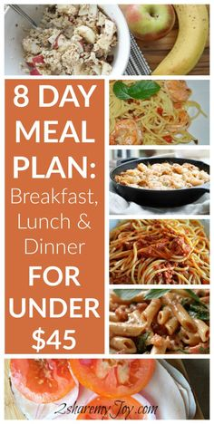 8 day meal plan for breakfast, lunch and dinner. Only $1.65 per dinner plate and $167 on groceries a month for 2 people. Includes 4 pasta dinner recipes, breakfast and lunch ideas, shopping list and free download. Save money on groceries now with this meal plan!
