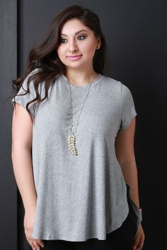 Ribbed Knit Round Neck Tunic Top
