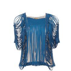 Pepa Pombo     Sea Port Lagoa Top ($750) ❤ liked on Polyvore featuring tops, blue, bubble hem tops, short sleeve tops, blue short sleeve top and blue top