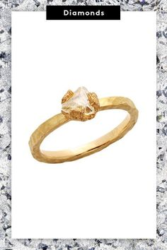 The 5 New Engagement-Ring Trends Every Cool Bride Should See #refinery29  http://www.refinery29.com/new-engagement-ring-trends#slide-8  The hand-hammered band complements the rough finish of the natural diamond beautifully. ...