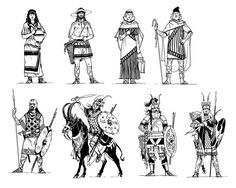 Drawings showing various cultures I did way back for HeroQuest: Glorantha