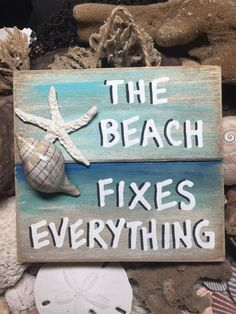 MULTI COLOR DESIGN This is a handmade beach themed, nautical piece of art, made from recycled pallet boards, sea shells (hand gathered by me) and polymer clay star fish. It is ready for your home, patio, porch or beach house!  All signs are about 5x 5.25 with some variation dependent upon the nature of the pallet boards. All signs have been hand painted and varnished and can be for inside or outside decor.  Each sign is just a little different, due to boards being one of a kind, and the hand…