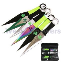 """9"""" set of 6 PCS High Quality Steel Zombie Throwing Knives Knife  with Sheath USA"""