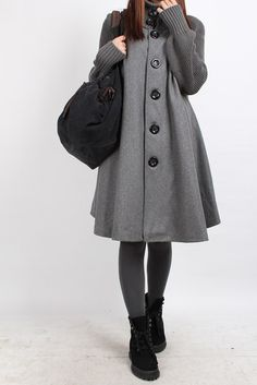 Knitted sleeve wool cape coat by MaLieb on Etsy