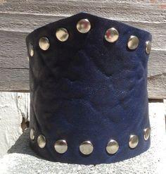 supple NAVY BLUE LEATHER cuff bracelet studded by by whackytacky, $39.99