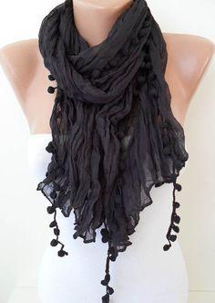 Black Cotton Scarf with Pompom Trim by SwedishShop on Etsy, $12.90