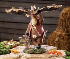 Rustic Cowboy Moose w/ Bandana -it's a Garden Birdfeeder!