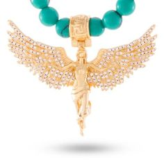 2ed63ce39c 14K Gold Turquoise Beaded Soaring Angel Necklace Hip Hop Chains