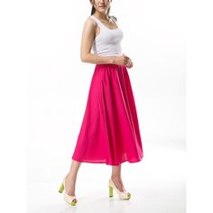Rosy Cotton Linen Skirt Maxi Long Skirt for Women Multi Color ($32) ❤ liked on Polyvore