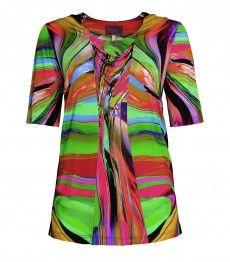 Buntes kurzarm Damenshirt von Sempre Piu aus Viskose in Grün kaufen