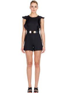 Black Oversized Ruffle Sleeves Belted Romper,  Other, black ruffles sleeves belted playsuit, Chic #black #oversized #ruffle #sleeves #belted #romper #cute #chic #ootd #summer #playsuit #trendy www.UsTrendy.com