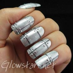 The Digit-al Dozen Does Metal:#silver #nails #nailart #polish #manicure - See more nail looks at bellashoot.com share your faves!