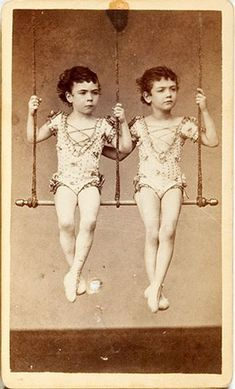 [carte de visite portrait of two child acrobat performers] via Heritage Auctions.I don't know why but I find this incredibly creepy. Vintage Circus Photos, Vintage Carnival, Vintage Photographs, Vintage Images, Vintage Circus Performers, Antique Photos, Old Photos, Royal Ballet, Circus Art