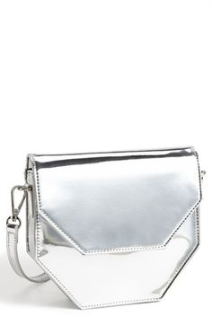 $58, Silver Leather Crossbody Bag: Shiraleah Bea Crossbody Silver. Sold by Nordstrom. Click for more info: http://lookastic.com/women/shop_items/70345/redirect