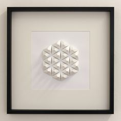 Paper Crystal Mosaic Relief Wall Art - Geometric Modernist Minimal Origami Sculpture White Abstract Symmetric Folding Tessellation Home Deco (120.00 USD)