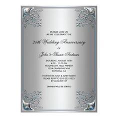 Silver 25th Silver Anniversary Party Invitations