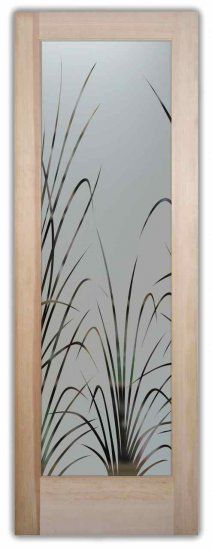 Etched Glass Doors  Tall Wispy Thin Reeds Frosted Glass Doors